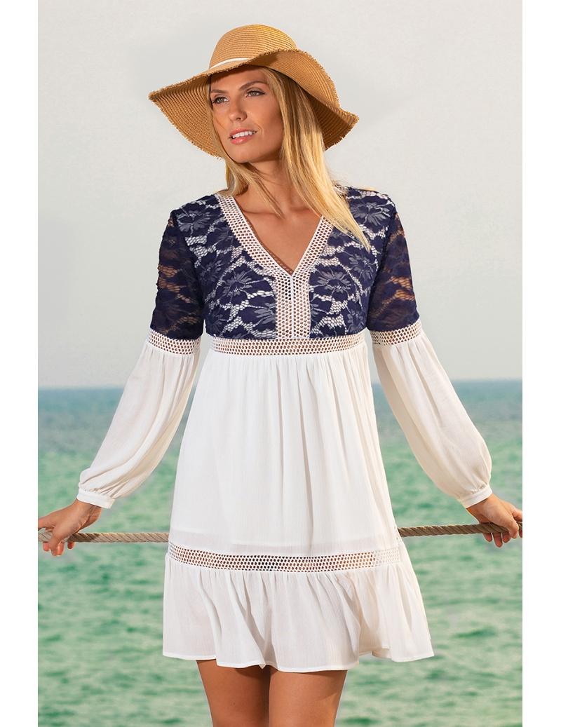 ea0bcc3ab3d Robe été femme bohème bleu et blanc mode tendance Marin. Loading zoom