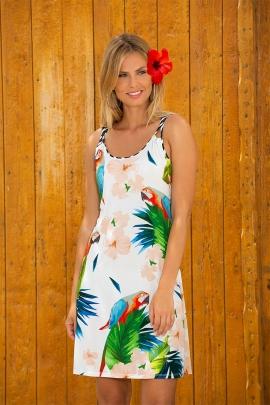 Robe été casual chic motif perroquet dos croisé Honolulu