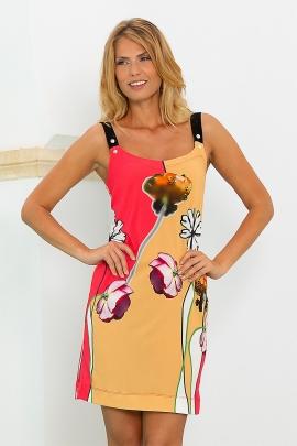 Robe été colorée bicolore motif fleur mode casual Mula