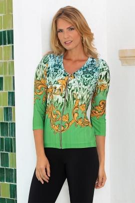 Gilet zippé femme chic original motif vert et doré Oman