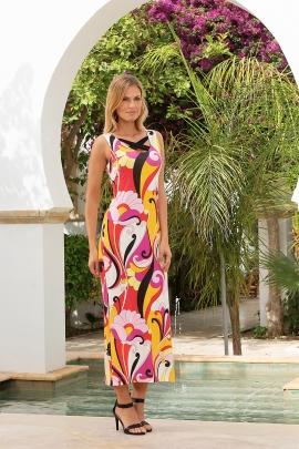 Robe été longue chic imprimée arabesques colorées Adriana