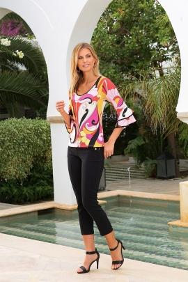 Tshirt femme imprimé arabesque manche 3/4 volantée Kelly