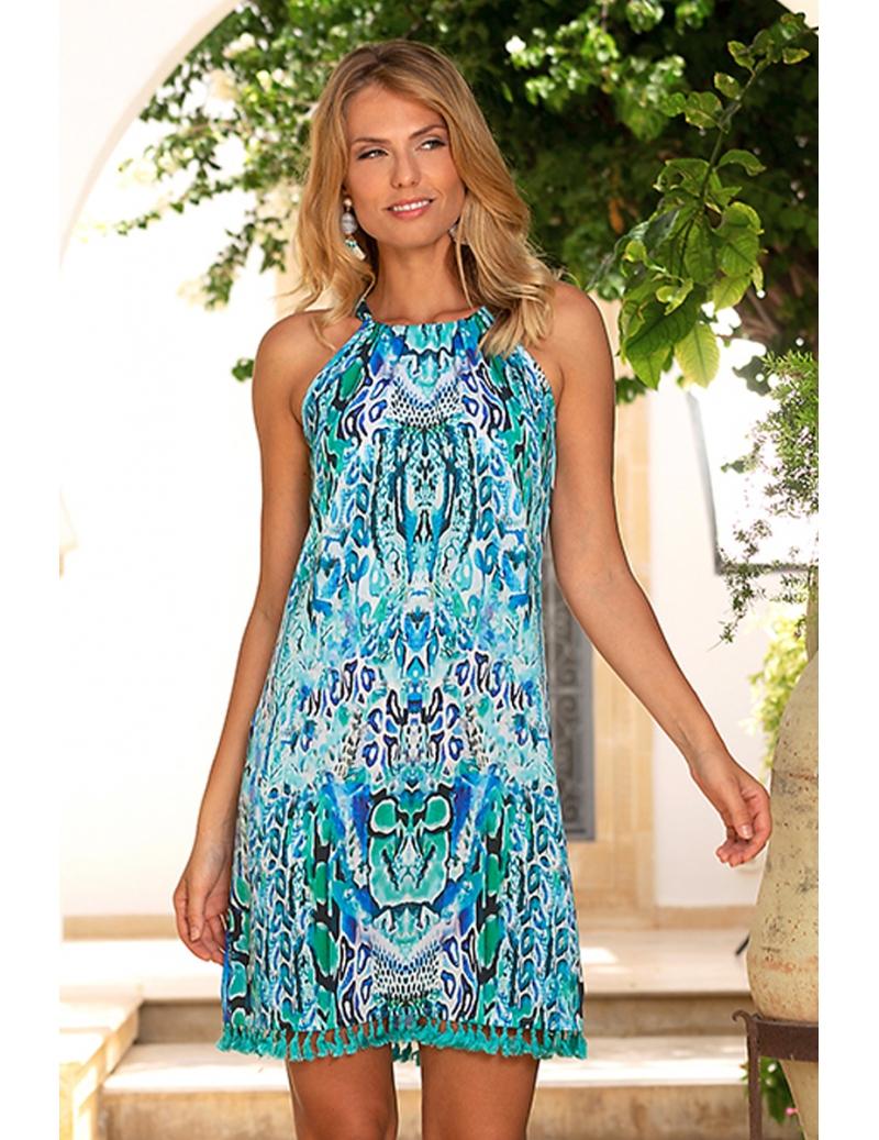 Robe Ete Imprimee Reptile Bleute Mode Femme Chic Kenya Bleu D Azur