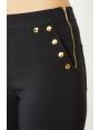 Pantalon été chic noir coupe 7/8 détails dorés Medrano