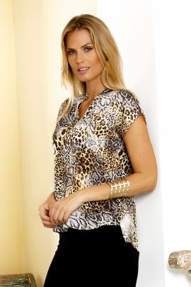 Blouse femme chic motif léopard chainette dorée Zelie