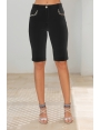 Bermuda été femme stretch noir poches décorées Circus