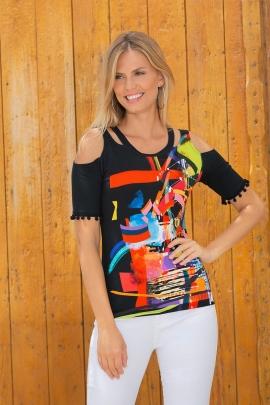 Tshirt noir original motif coloré manches pompons Belize