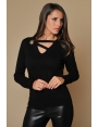 PULL NOIR ŒILLET MAILLE DOUCE CHIC HIVER FEMME DYLAN