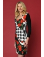 ROBE MOTIF ROSE ROUGE CHIC MODE HIVER FEMME MAJESTIC