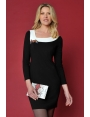 ROBE NOIRE COL BLANC CHIC & STRASS HIVER FEMME RIVIERA