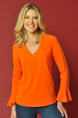 BLOUSE ORANGE CHIC MANCHE VOLANT MODE FEMME MODE CANDICE