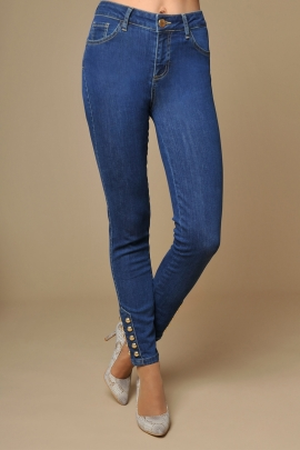 JEANS SLIM DENIM DETAIL BOULE OR MODE HIVER FEMME ELVIS