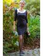 ROBE NOIRE COL BLANC CHIC & STRASS HIVER FEMME RIVIERA