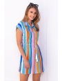 Robe blouse rayures verticales multicouleurs Calgary