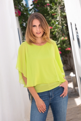 Top-cape tendance 2 en 1 voile crepon lime Manet