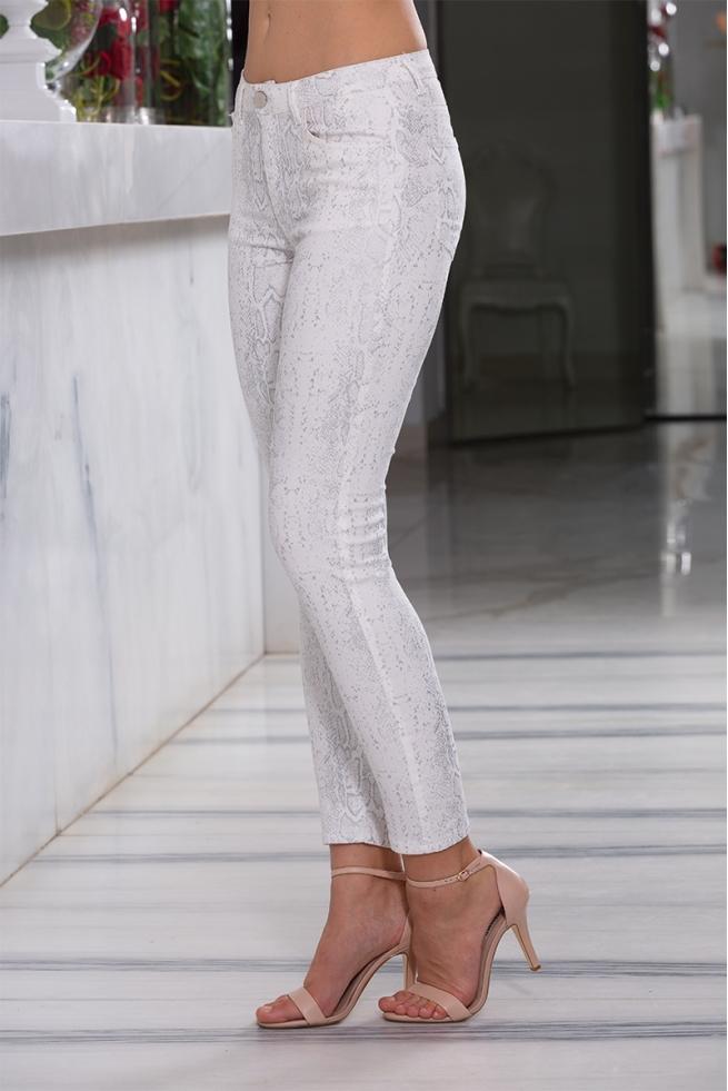 Pantalon droit été femme coton stretch python Snake
