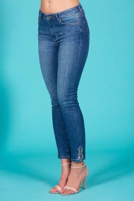 Jeans slim été femme denim fendu décor perles Solange