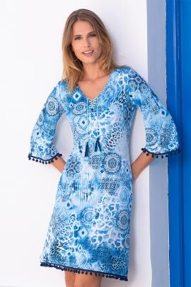 Robe ete femme evasee à pompons et motifs bleus Magalia
