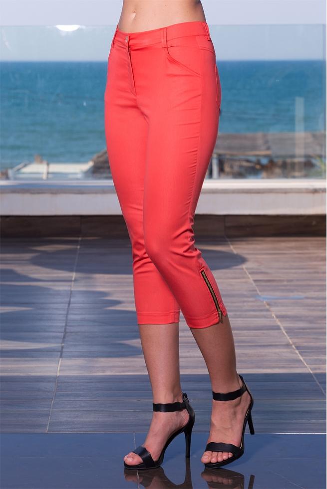 Pantacourt femme zippé corail stretch confort Desert