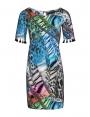 Robe droite été femme imprimé bleu manche pompons mandala