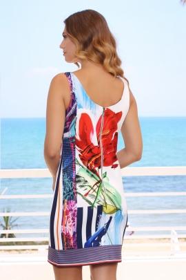 Robe femme droite bretelle élégante imprimé floral Nat