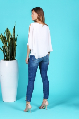 Tunique chic blanche voile doublé détail strass glasgow