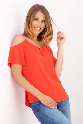 Top femme corail ornement chaine decoupe épaule Forever