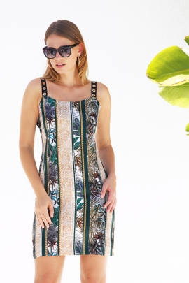 robe droite femme chic satin coloré motif exotique Laos