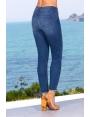 Jeans slim été femme denim brut troué et franges Crush