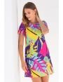 Robe été femme évasée crêpe imprimé multicolore Melody