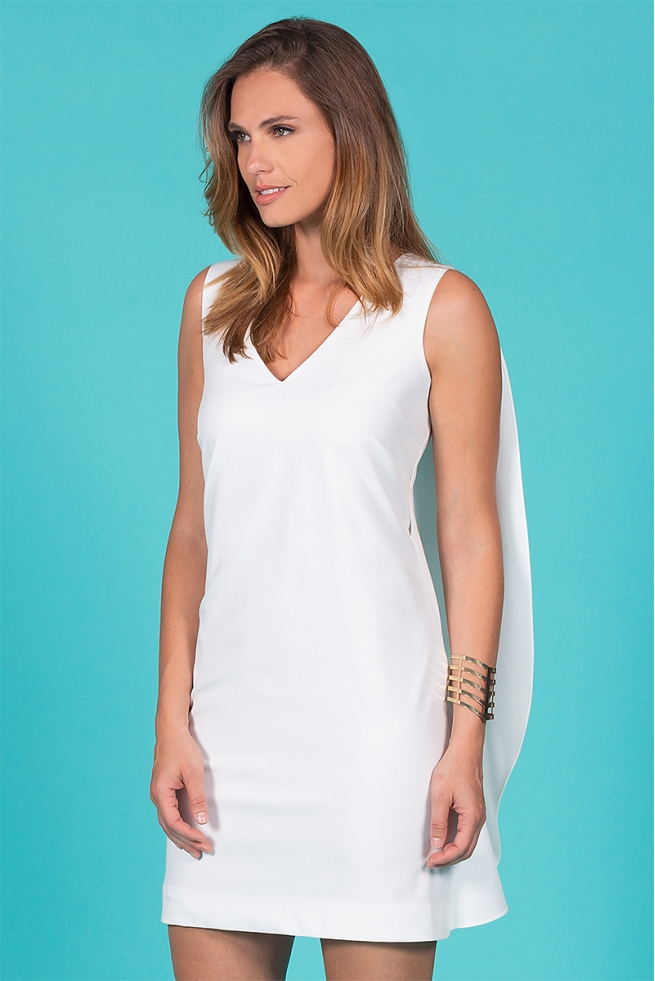 Robe été blanche élégante stretch forme cape Fabiola