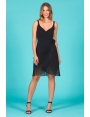 Robe portefeuille cache coeur franges noires Charleston
