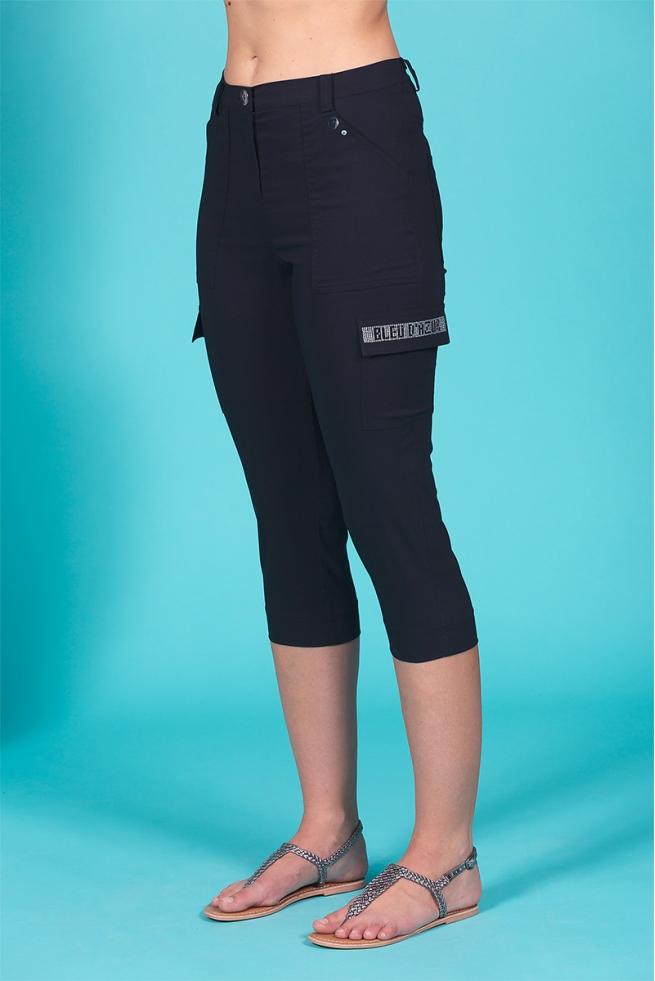 Pantacourt taille haute femme noir stretch à poche Best