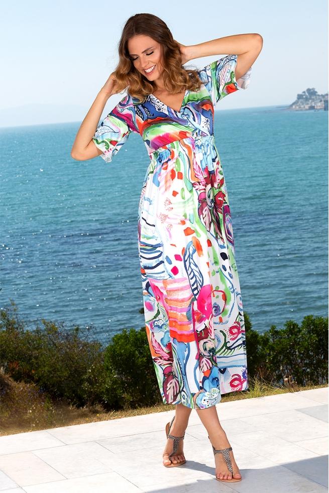 Robe été longue colorée cache coeur couleur pastel Joan