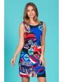 Robe femme droite jersey fluide motif coloré Paola