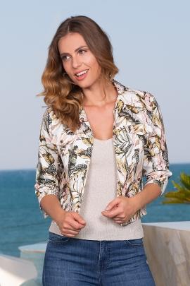 Veste courte femme style jeans imprimée palmier Tower