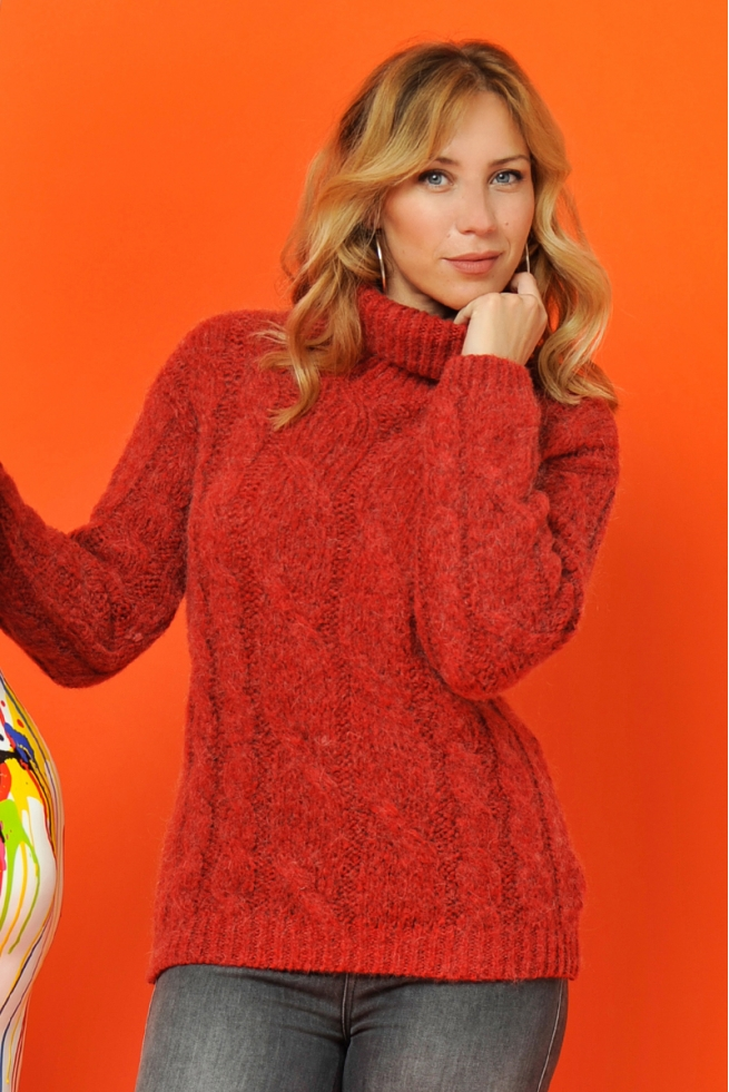 PULL OLIVIA MAILLE ROUGE