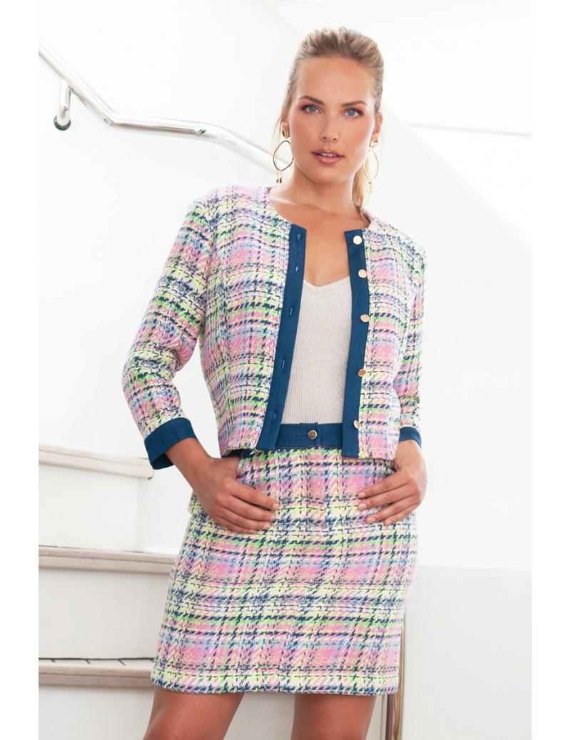 Veste de tailleur femme en tweed style Chanel denim Curby  BLEU D'AZUR